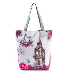 Canvas Shoulder Bag Women Tote Handbag Pink Style